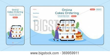 Online Cakes Ordering Adaptive Landing Page Flat Color Vector Template. Pastry Shop Mobile And Pc Ho