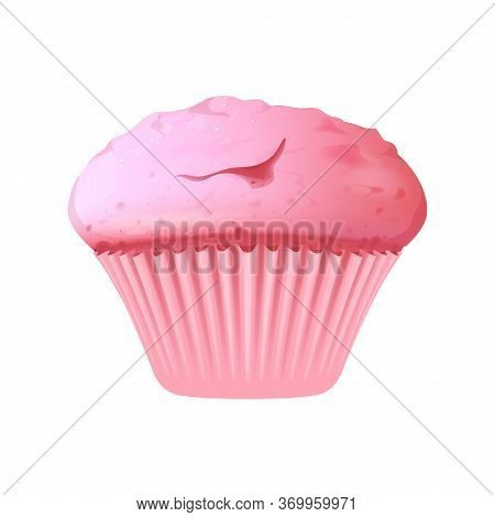 Pink Cupcake Realistic Vector Illustration. Sugary Pastry, Delicious Dessert. Confectionery, Sweet S