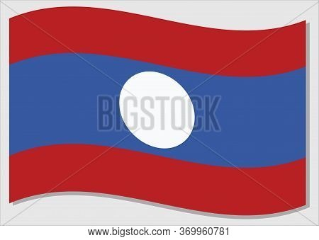 Waving Flag Of Laos Vector Graphic. Waving Lao Flag Illustration. Laos Country Flag Wavin In The Win