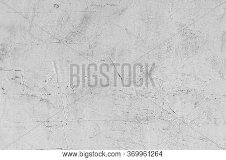 Texture Of Gray Concrete Cement Wall With Cracks And Damage. Abstract Background