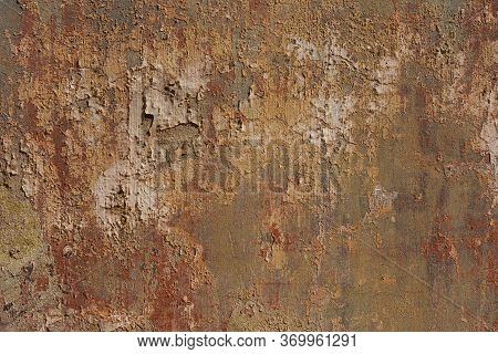 Rusty Damaged Cement Wall With Peeling Paint And Stains. Red Brown Abstract Dramatic Colorful Vibran