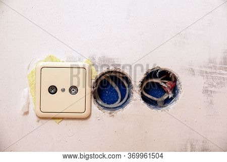Row Of Electric Outlet Set In Bedroom Wall, Tv Outlet , Cable Outlet And Electronic Plug With Asia S