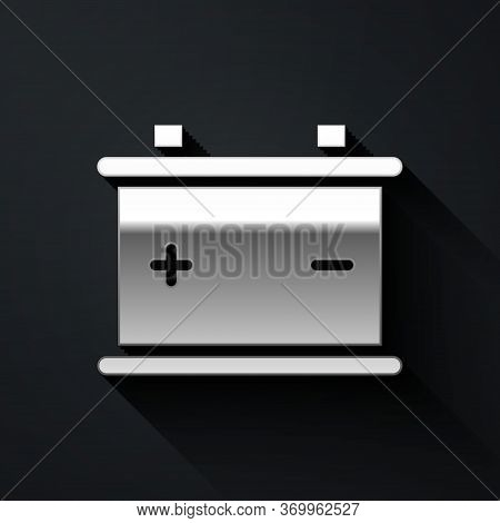 Silver Car Battery Icon Isolated On Black Background. Accumulator Battery Energy Power And Electrici