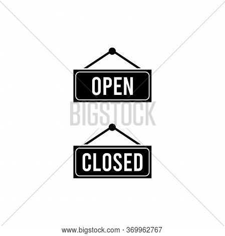 Open And Closed Icon, Hanging Rectangular Door Sign With Text Open And Closed.