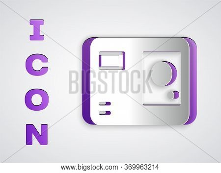 Paper Cut Action Extreme Camera Icon Isolated On Grey Background. Video Camera Equipment For Filming
