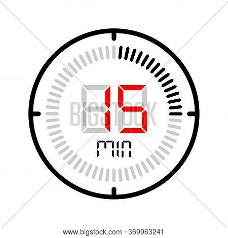 The 15 Minute Icon Isolated On White Background. Stopwatch Vector Icon, Digital Timer. Clock And Wat