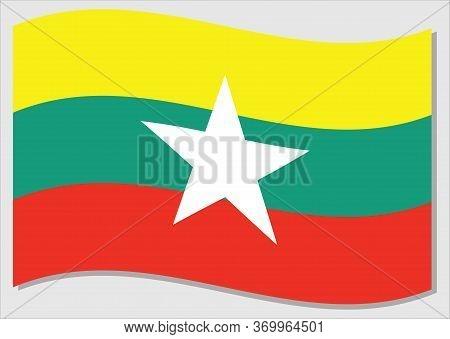 Waving Flag Of Myanmar Vector Graphic. Waving Burmese Flag Illustration. Myanmar Country Flag Wavin
