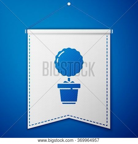 Blue Plant In Pot Icon Isolated On Blue Background. Plant Growing In A Pot. Potted Plant Sign. White