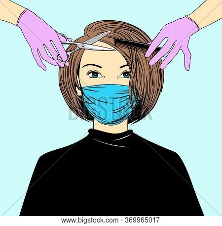 A beautiful woman in a protective medical mask and a hairdresser. Opened a Barber shop. Prevention of coronavirus, covid-19, in beauty salons. Hair care at home.