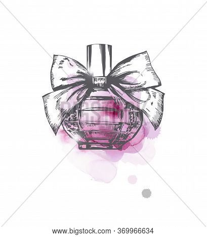 A Beautiful Bottles Of Perfume On A Lilac Watercolor Background . Womens Perfume. Vector Watercolor.