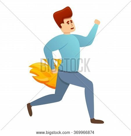 Hurry Burning Worker Icon. Cartoon Of Hurry Burning Worker Vector Icon For Web Design Isolated On Wh