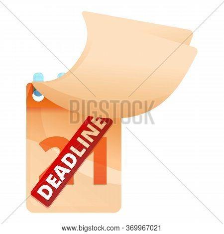 Deadline On Calendar Icon. Cartoon Of Deadline On Calendar Vector Icon For Web Design Isolated On Wh