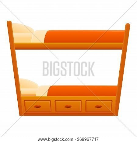 Furniture Bunk Bed Icon. Cartoon Of Furniture Bunk Bed Vector Icon For Web Design Isolated On White