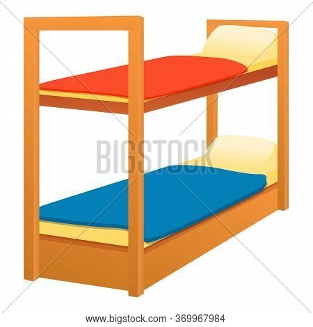 Double Bunk Bed Icon. Cartoon Of Double Bunk Bed Vector Icon For Web Design Isolated On White Backgr