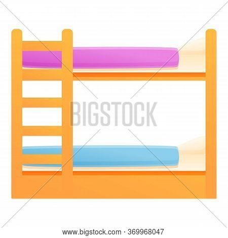 Bunk Bed Sleeping Icon. Cartoon Of Bunk Bed Sleeping Vector Icon For Web Design Isolated On White Ba
