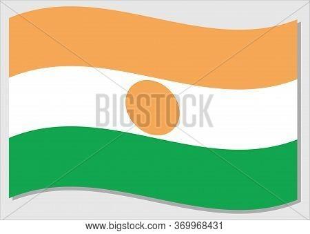 Waving Flag Of Niger Vector Graphic. Waving Nigerien Flag Illustration. Niger Country Flag Wavin In