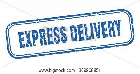 Express Delivery Stamp. Express Delivery Square Grunge Blue Sign