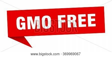 Gmo Free Speech Bubble. Gmo Free Ribbon Sign. Gmo Free Banner