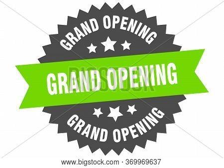 Grand Opening Sign. Grand Opening Green-black Circular Band Label