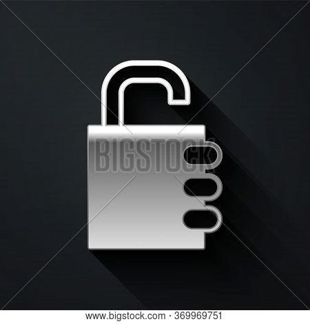 Silver Safe Combination Lock Icon Isolated On Black Background. Combination Padlock. Security, Safet