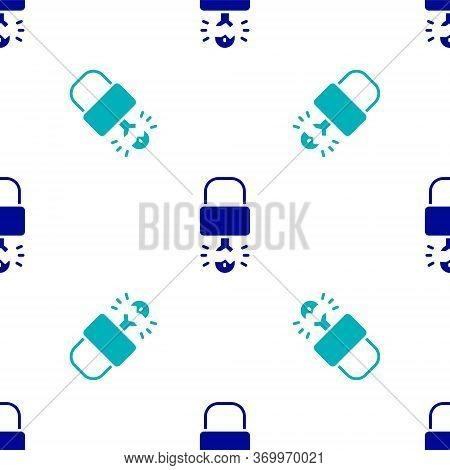 Blue Key Broke Inside Of Padlock Icon Isolated Seamless Pattern On White Background. Padlock Sign. S