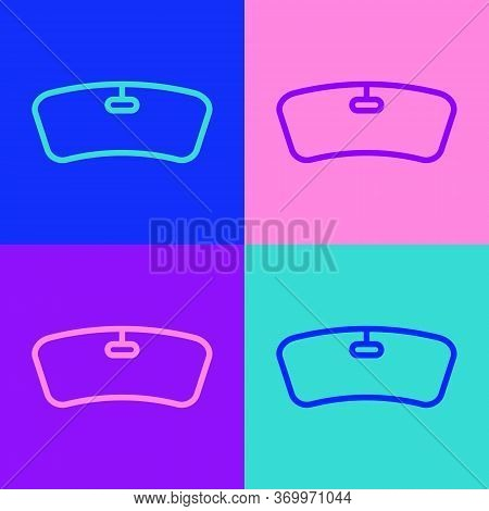 Pop Art Line Windshield Icon Isolated On Color Background. Vector Illustration