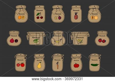 Homemade Jar Labels Set. Outline Doodle Style Design Template. Hand Drawn Vector Illustrations. Cute