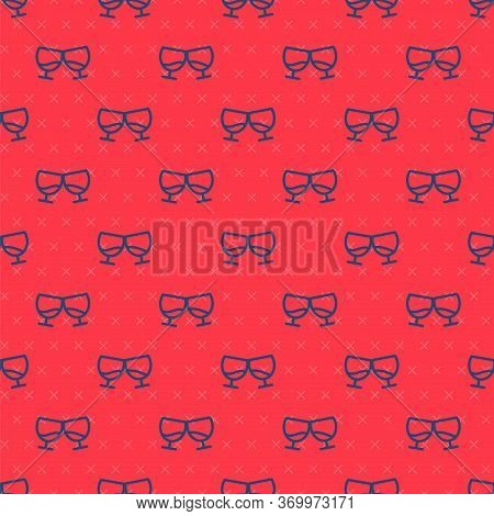 Blue Line Glass Of Cognac Or Brandy Icon Isolated Seamless Pattern On Red Background. Vector Illustr