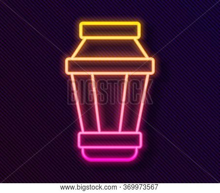 Glowing Neon Line Garden Light Lamp Icon Isolated On Black Background. Solar Powered Lamp. Lantern.