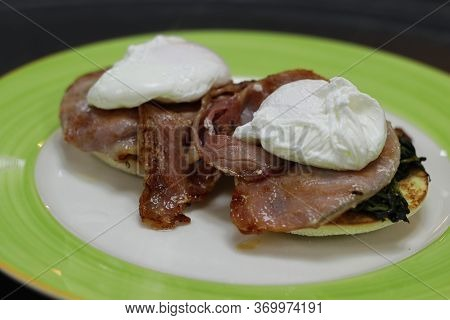 Egg Benedict With Poach Egg, Bacon And Spinach