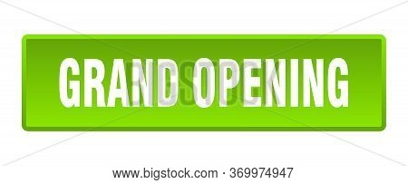Grand Opening Button. Grand Opening Square Green Push Button