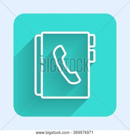 White Line Address Book Icon Isolated With Long Shadow. Notebook, Address, Contact, Directory, Phone