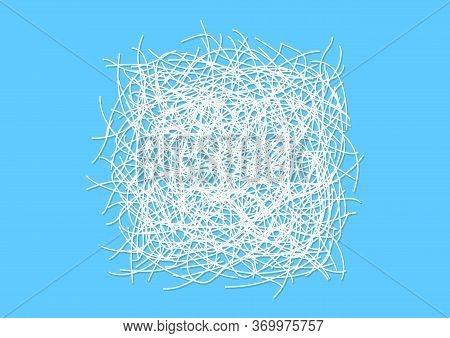 Shredded Paper White Isolated On Light Blue, Scrap Shredded Paper For Gift Pack, Shredded Paper Top