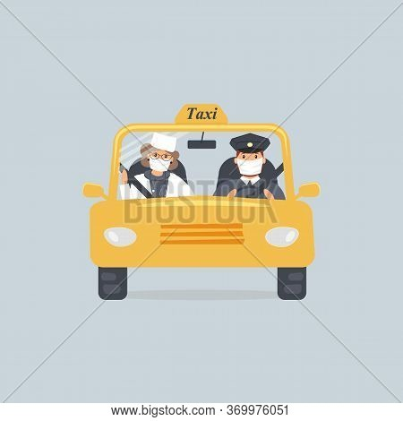 Taxi Driver And Woman Doctor In Protective Medical Masks Sitting In Front Seat In Cab Seen Through W