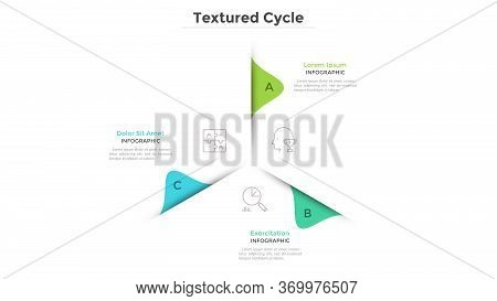 Circular Chart With 3 Paper White Sectors. Concept Of Cyclical Business Process With Three Stages Or