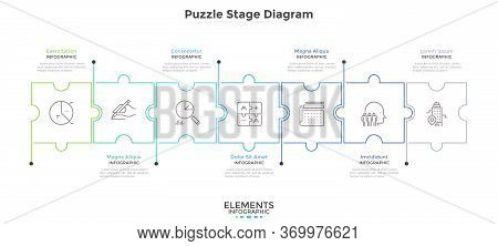 Horizontal Chart With 7 Connected Jigsaw Puzzle Pieces. Concept Of Seven Dependent Components Or Par