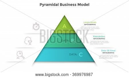 Triangular Diagram Divided Into 3 Levels. Concept Of Pyramid Business Model With Three Stages Of Dev