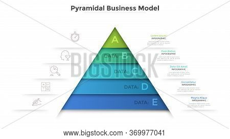 Triangular Diagram Divided Into 5 Levels. Concept Of Pyramid Business Model With Five Stages Of Deve