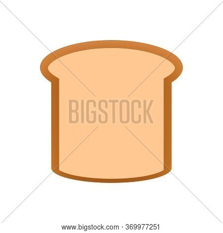 Sliced Bread Icon Isolated On White, Clip Art Bread Piece Sliced Cut, Illustration Flat Lay Bread Fo