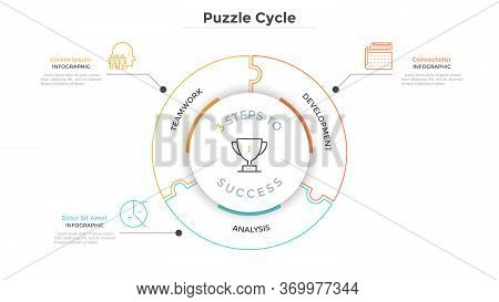 Modern Circular Diagram Divided Into 3 Jigsaw Puzzle Pieces. Concept Of Three Steps To Business Succ