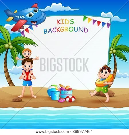 Border Template With Kids On Summer Holiday Illustration