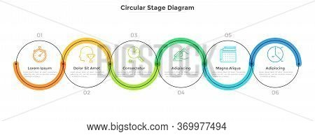 Six Round Links Connected Into Horizontal Chain. Concept Of 6 Stages Of Startup Development Plan Or