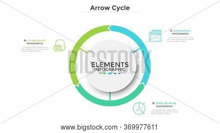 Circular Diagram Divided Into 3 Colorful Arrow-like Parts. Concept Of Three Stages Of Cyclic Process