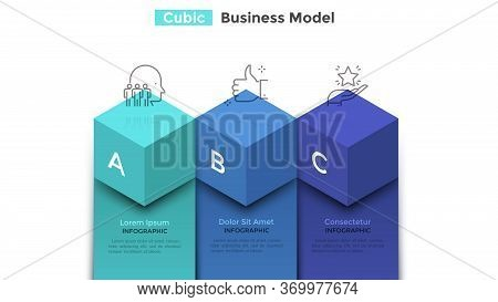Bar Chart With Three Colorful Cubic Elements. Concept Of Business Model With 3 Steps Of Companys Pro