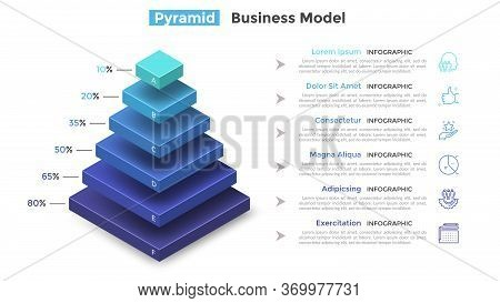 Tiered Pyramid Diagram With 6 Segments Or Layers And Percentage Indication. Concept Of Six Levels Of