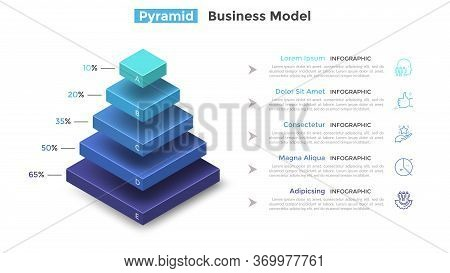 Tiered Pyramid Diagram With 5 Segments Or Layers And Percentage Indication. Concept Of Five Levels O