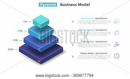 Tiered Pyramid Diagram With 4 Segments Or Layers And Percentage Indication. Concept Of Four Levels O