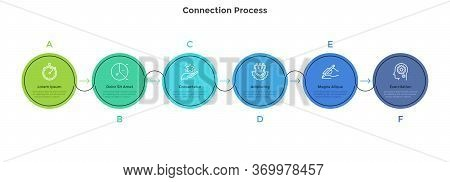 Six Colorful Circular Elements Placed In Horizontal Row And Connected By Arrows. Concept Of 6 Succes