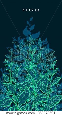 Vector Nature Neon Background. Art Line Green Plant, Organic Flora. Hand Drawn Graphic Template, Bio