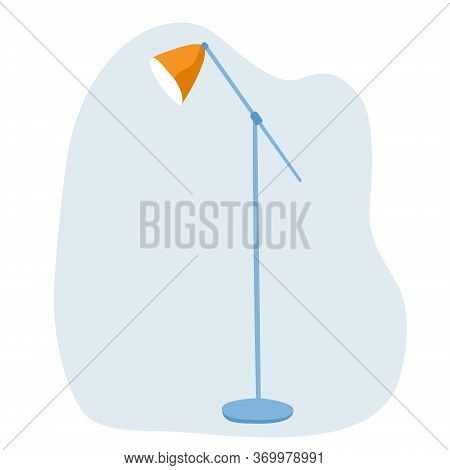 Large Floor Lamp With One Lampshade. Simple Hand-drawn Flat Clip Art. Interior Design. Stock Vector